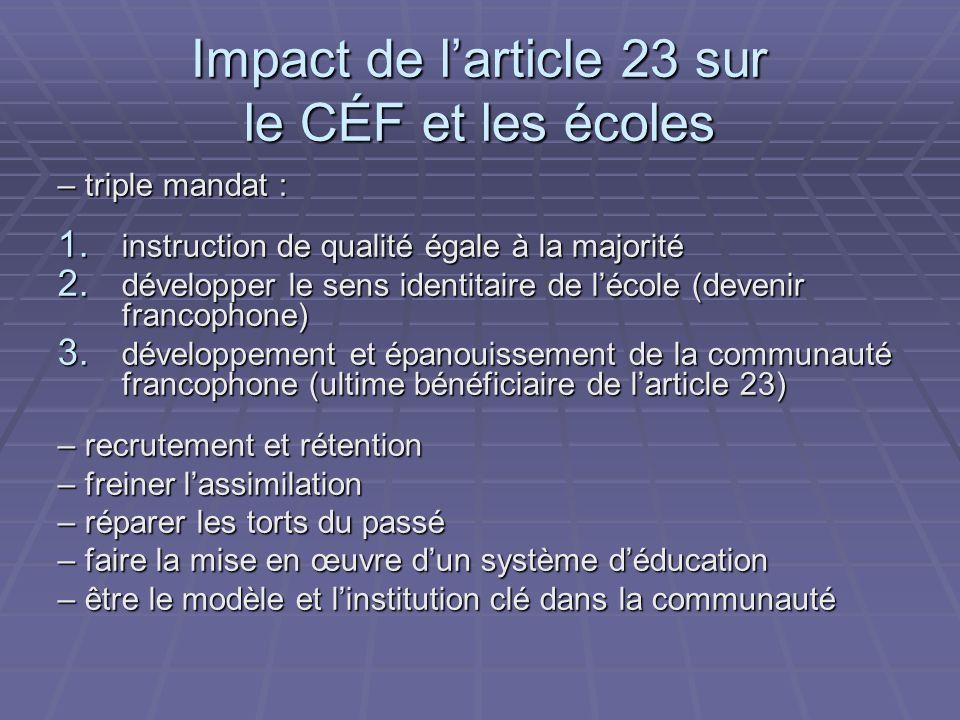 Impact de larticle 23 sur le CÉF et les écoles – triple mandat : 1.