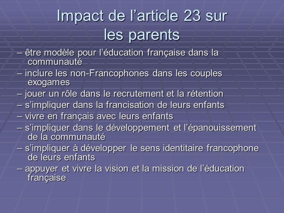 Impact de larticle 23 sur les parents – être modèle pour léducation française dans la communauté – inclure les non-Francophones dans les couples exogames – jouer un rôle dans le recrutement et la rétention – simpliquer dans la francisation de leurs enfants – vivre en français avec leurs enfants – simpliquer dans le développement et lépanouissement de la communauté – simpliquer à développer le sens identitaire francophone de leurs enfants – appuyer et vivre la vision et la mission de léducation française