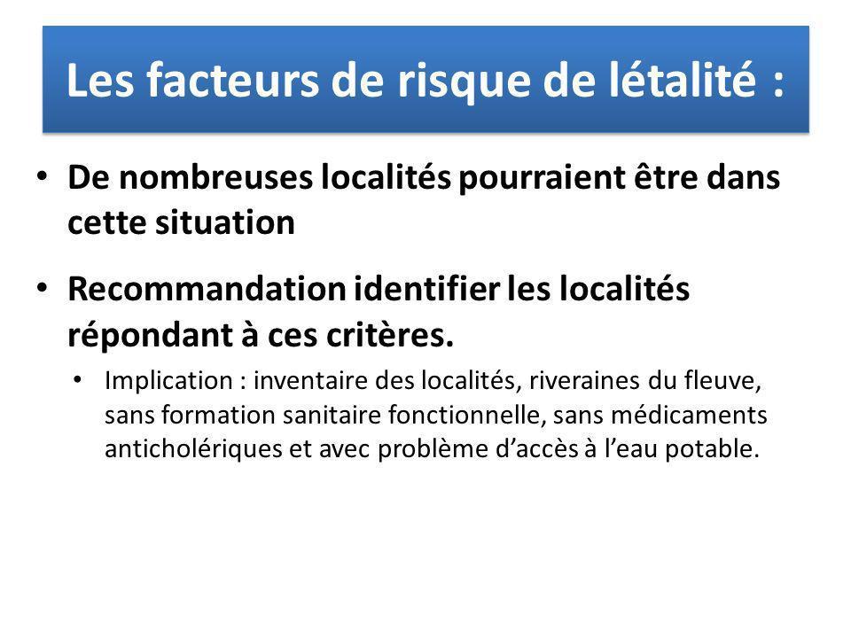 De nombreuses localités pourraient être dans cette situation Recommandation identifier les localités répondant à ces critères. Implication : inventair
