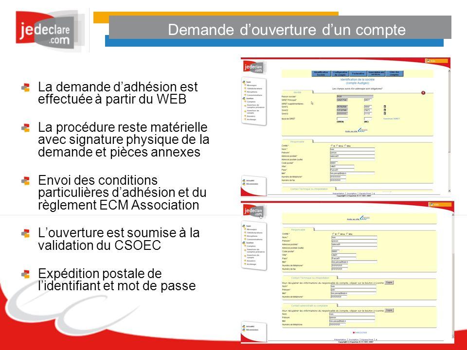 Demande douverture dun compte La demande dadhésion est effectuée à partir du WEB La procédure reste matérielle avec signature physique de la demande e