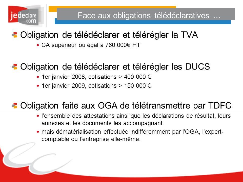 Face aux obligations télédéclaratives … Obligation de télédéclarer et télérégler la TVA CA supérieur ou égal à 760.000 HT Obligation de télédéclarer e