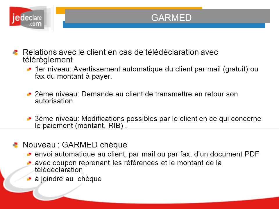 GARMED Relations avec le client en cas de télédéclaration avec télérèglement 1er niveau: Avertissement automatique du client par mail (gratuit) ou fax