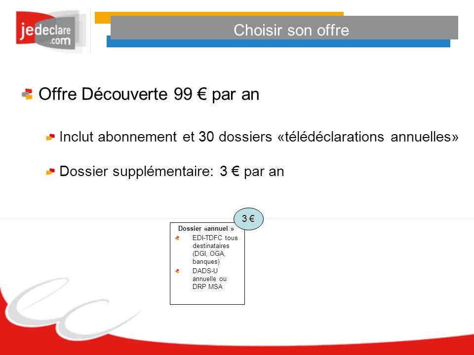 Choisir son offre Offre Découverte 99 par an Inclut abonnement et 30 dossiers «télédéclarations annuelles» Dossier supplémentaire: 3 par an Dossier «a
