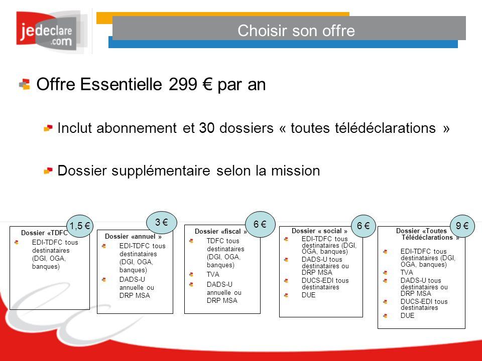 Choisir son offre Offre Essentielle 299 par an Inclut abonnement et 30 dossiers « toutes télédéclarations » Dossier supplémentaire selon la mission Do
