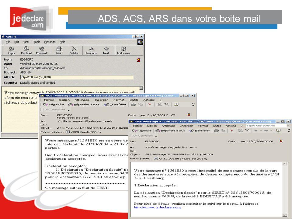 ADS, ACS, ARS dans votre boite mail
