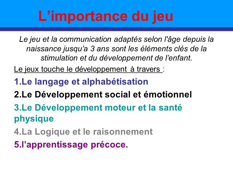 Limportance du jeu Le jeu et la communication adaptés selon l'âge depuis la naissance jusqua 3 ans sont les éléments clés de la stimulation et du déve