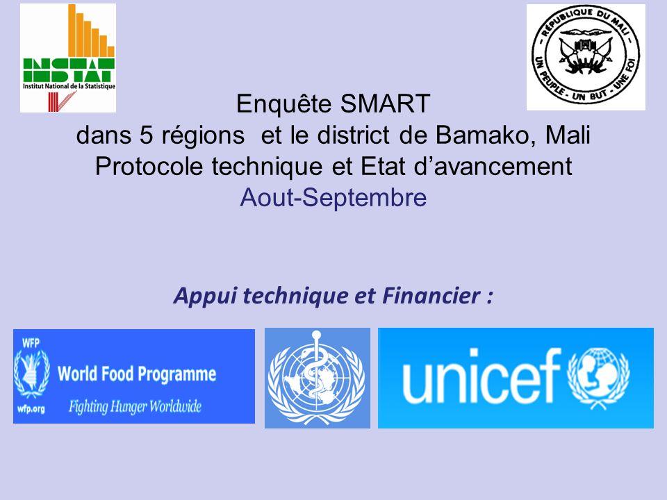 Enquête SMART dans 5 régions et le district de Bamako, Mali Protocole technique et Etat davancement Aout-Septembre Appui technique et Financier :