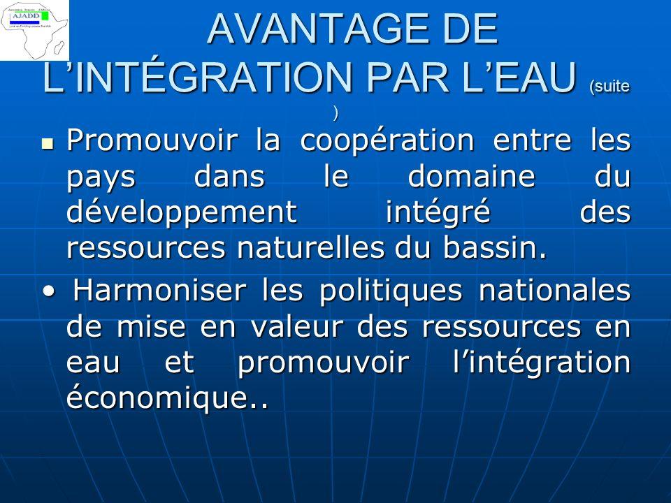 IX AVANTAGE DE LINTÉGRATION PAR LEAU IX AVANTAGE DE LINTÉGRATION PAR LEAU Conduire des études techniques et économiques sur demande des Etats- membres