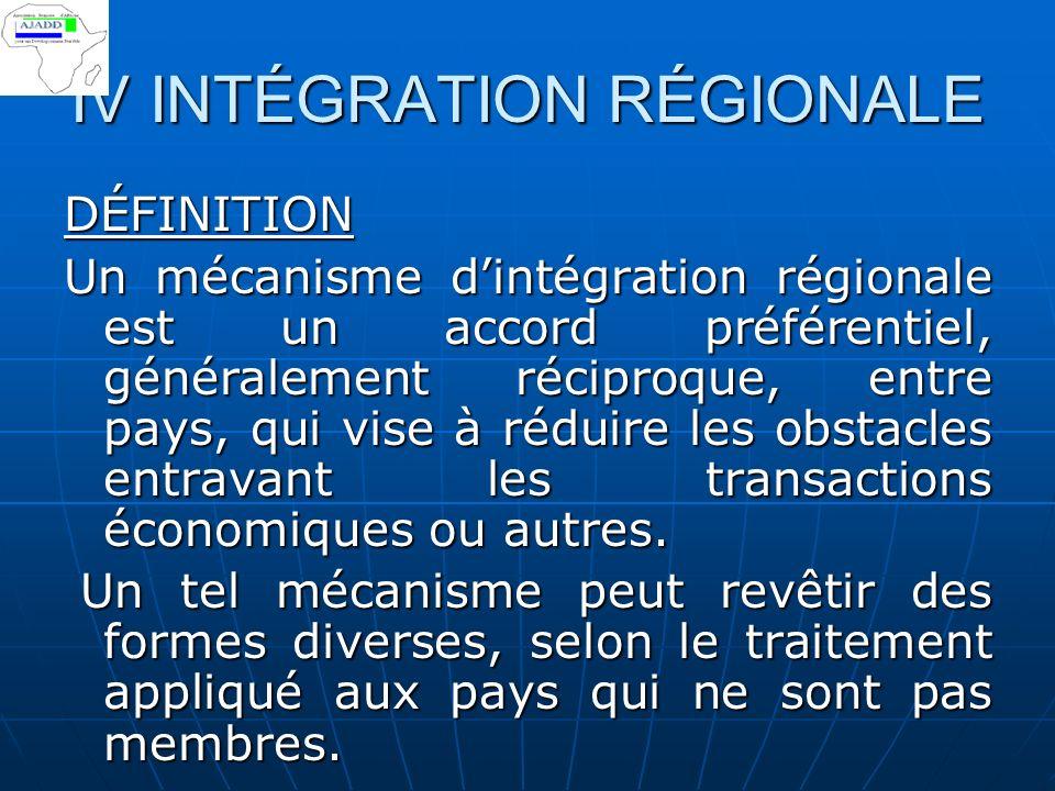 IV INTÉGRATION RÉGIONALE DÉFINITION Un mécanisme dintégration régionale est un accord préférentiel, généralement réciproque, entre pays, qui vise à réduire les obstacles entravant les transactions économiques ou autres.