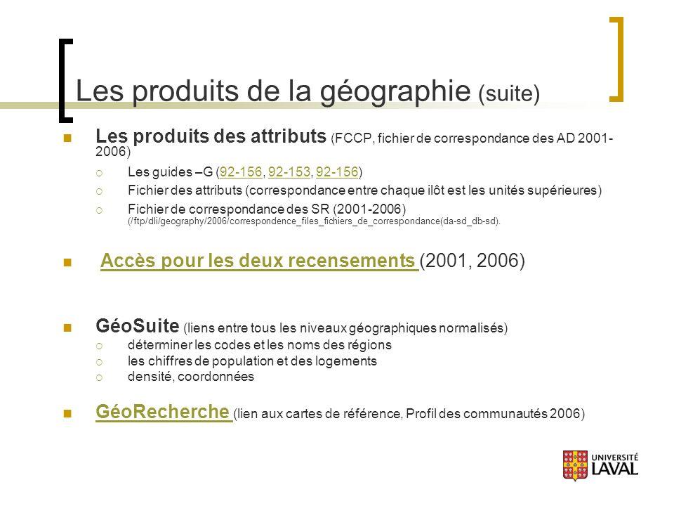 Les produits de la géographie (suite) Les produits des attributs (FCCP, fichier de correspondance des AD 2001- 2006) Les guides –G (92-156, 92-153, 92-156)92-15692-15392-156 Fichier des attributs (correspondance entre chaque ilôt est les unités supérieures) Fichier de correspondance des SR (2001-2006) (/ftp/dli/geography/2006/correspondence_files_fichiers_de_correspondance(da-sd_db-sd).