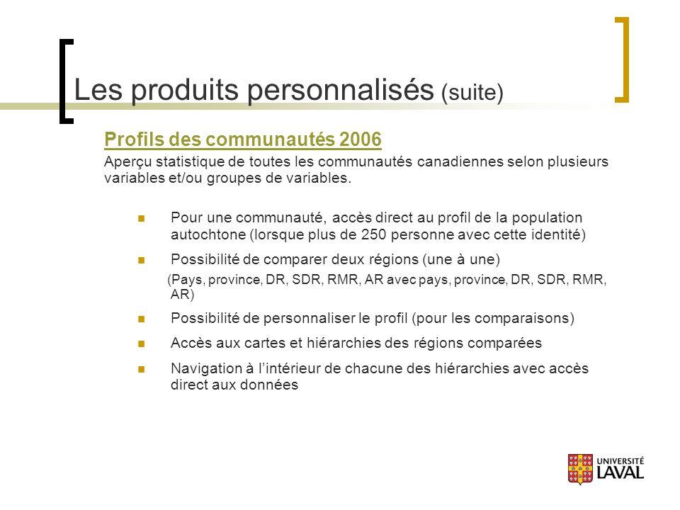 Les produits personnalisés (suite) Profils des communautés 2006 Aperçu statistique de toutes les communautés canadiennes selon plusieurs variables et/ou groupes de variables.