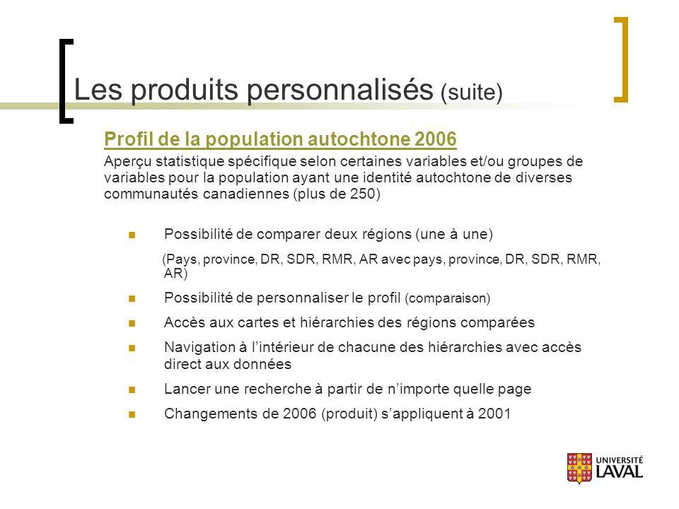 Les produits personnalisés (suite) Profil de la population autochtone 2006 Aperçu statistique spécifique selon certaines variables et/ou groupes de variables pour la population ayant une identité autochtone de diverses communautés canadiennes (plus de 250) Possibilité de comparer deux régions (une à une) (Pays, province, DR, SDR, RMR, AR avec pays, province, DR, SDR, RMR, AR) Possibilité de personnaliser le profil (comparaison) Accès aux cartes et hiérarchies des régions comparées Navigation à lintérieur de chacune des hiérarchies avec accès direct aux données Lancer une recherche à partir de nimporte quelle page Changements de 2006 (produit) sappliquent à 2001