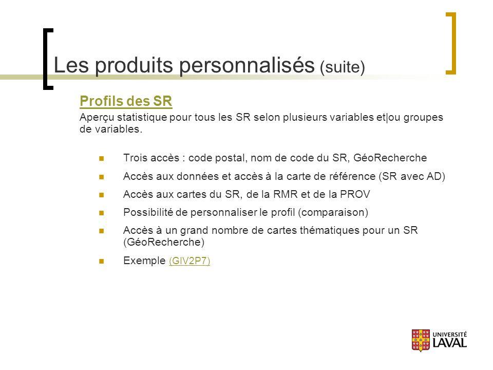 Les produits personnalisés (suite) Profils des SR Aperçu statistique pour tous les SR selon plusieurs variables et|ou groupes de variables.