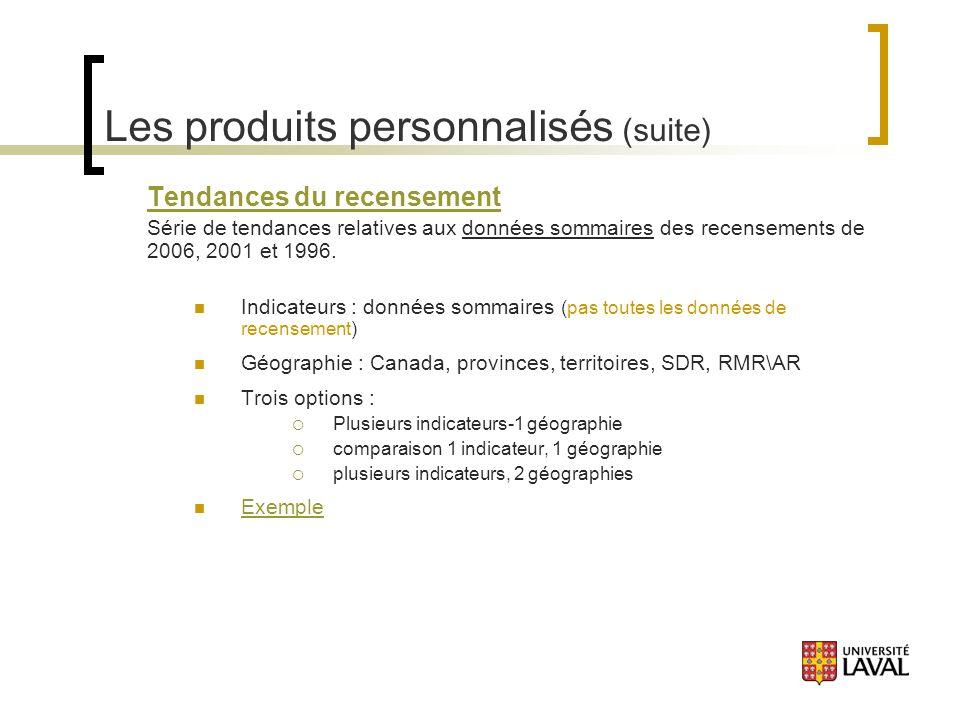 Les produits personnalisés (suite) Tendances du recensement Série de tendances relatives aux données sommaires des recensements de 2006, 2001 et 1996.