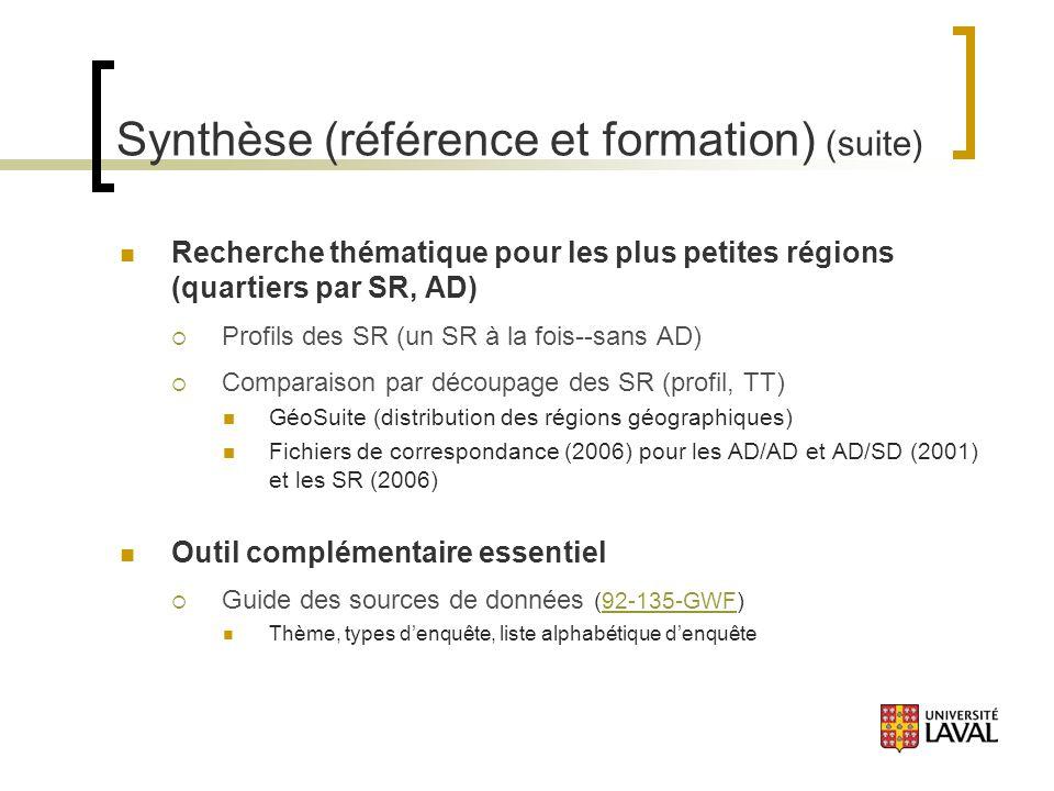 Synthèse (référence et formation) (suite) Recherche thématique pour les plus petites régions (quartiers par SR, AD) Profils des SR (un SR à la fois--sans AD) Comparaison par découpage des SR (profil, TT) GéoSuite (distribution des régions géographiques) Fichiers de correspondance (2006) pour les AD/AD et AD/SD (2001) et les SR (2006) Outil complémentaire essentiel Guide des sources de données (92-135-GWF)92-135-GWF Thème, types denquête, liste alphabétique denquête