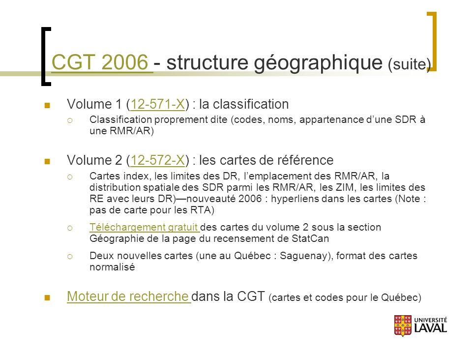 CGT 2006 CGT 2006 - structure géographique (suite) Volume 1 (12-571-X) : la classification12-571-X Classification proprement dite (codes, noms, appartenance dune SDR à une RMR/AR) Volume 2 (12-572-X) : les cartes de référence12-572-X Cartes index, les limites des DR, lemplacement des RMR/AR, la distribution spatiale des SDR parmi les RMR/AR, les ZIM, les limites des RE avec leurs DR)nouveauté 2006 : hyperliens dans les cartes (Note : pas de carte pour les RTA) Téléchargement gratuit des cartes du volume 2 sous la section Géographie de la page du recensement de StatCan Téléchargement gratuit Deux nouvelles cartes (une au Québec : Saguenay), format des cartes normalisé Moteur de recherche dans la CGT (cartes et codes pour le Québec) Moteur de recherche