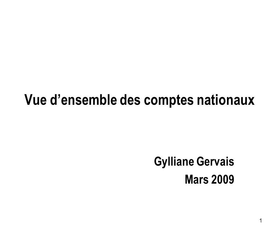 1 Vue densemble des comptes nationaux Gylliane Gervais Mars 2009