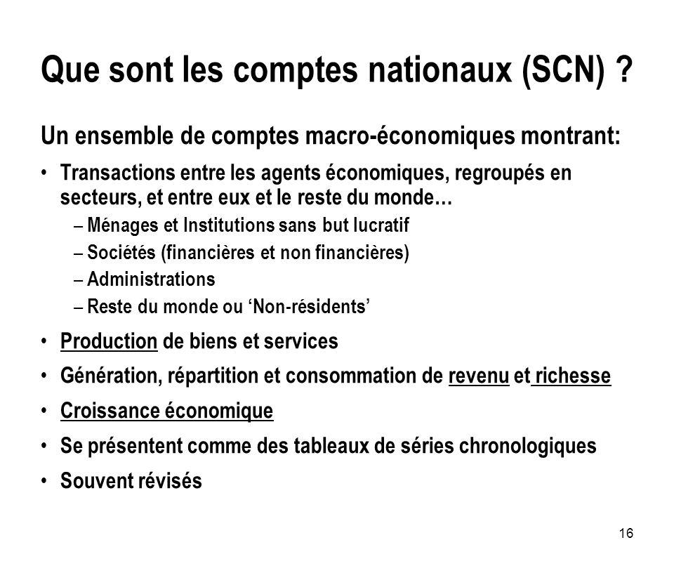 16 Que sont les comptes nationaux (SCN) ? Un ensemble de comptes macro-économiques montrant: Transactions entre les agents économiques, regroupés en s