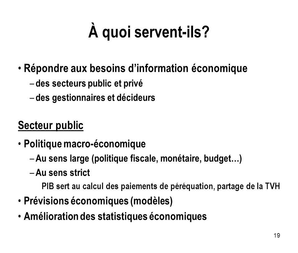 19 À quoi servent-ils? Répondre aux besoins dinformation économique – des secteurs public et privé – des gestionnaires et décideurs Secteur public Pol