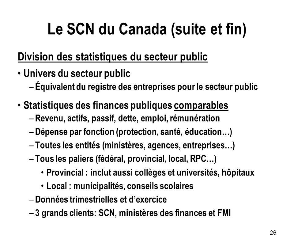 26 Le SCN du Canada (suite et fin) Division des statistiques du secteur public Univers du secteur public – Équivalent du registre des entreprises pour