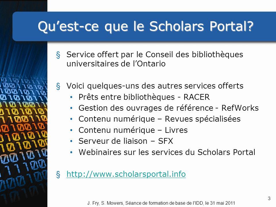 Quest-ce que le Scholars Portal.