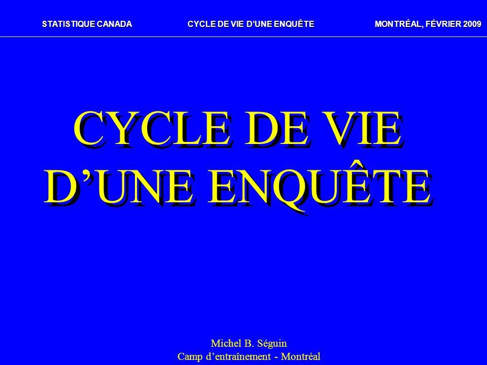 STATISTIQUE CANADACYCLE DE VIE DUNE ENQUÊTE MONTRÉAL, FÉVRIER 2009 CYCLE DE VIE DUNE ENQUÊTE Michel B. Séguin Camp dentraînement - Montréal