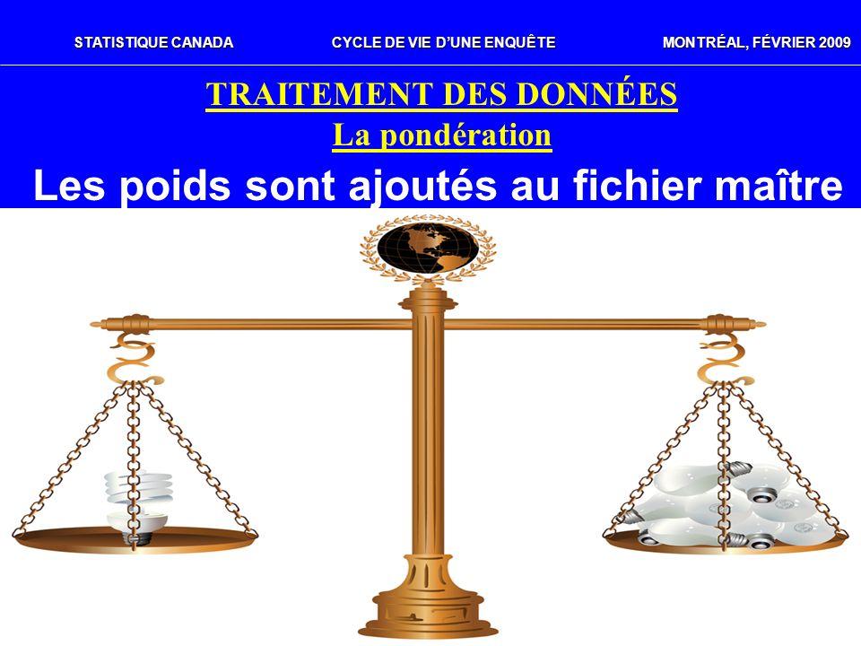 STATISTIQUE CANADACYCLE DE VIE DUNE ENQUÊTE MONTRÉAL, FÉVRIER 2009 TRAITEMENT DES DONNÉES La pondération Les poids sont ajoutés au fichier maître
