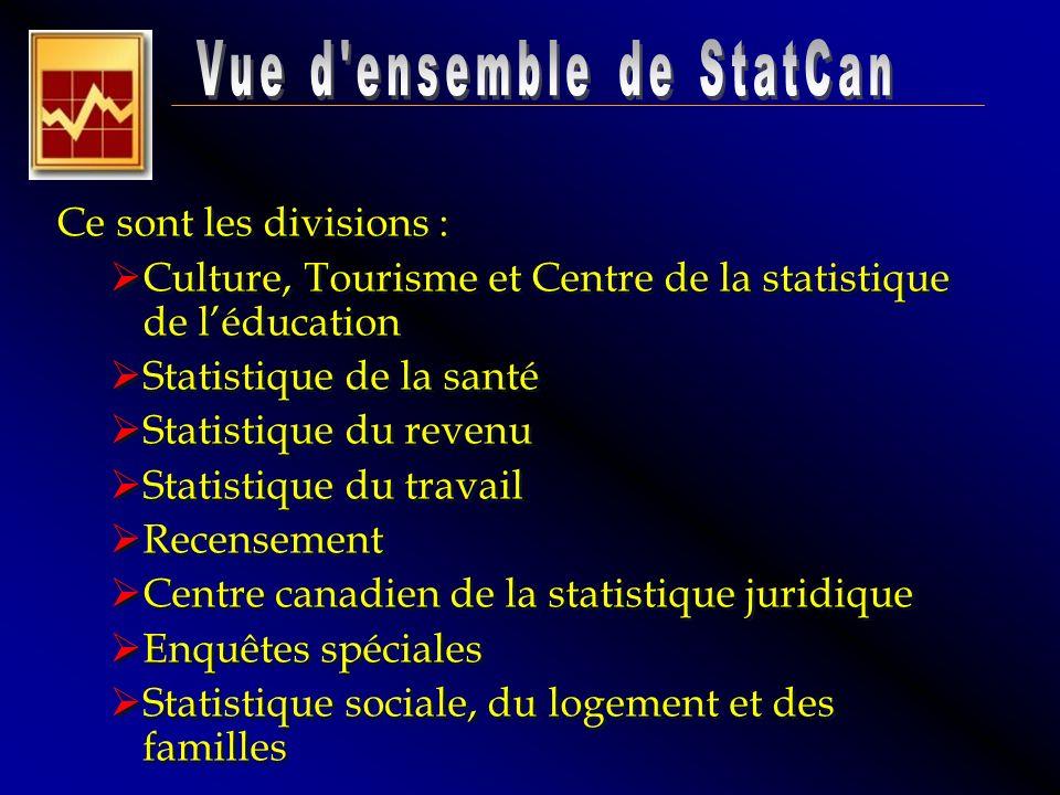 Ce sont les divisions : Culture, Tourisme et Centre de la statistique de léducation Statistique de la santé Statistique du revenu Statistique du trava