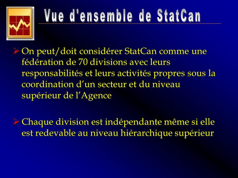 On peut/doit considérer StatCan comme une fédération de 70 divisions avec leurs responsabilités et leurs activités propres sous la coordination dun se