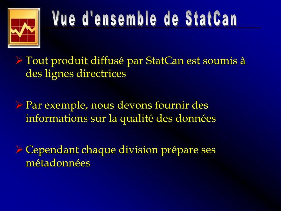 Tout produit diffusé par StatCan est soumis à des lignes directrices Par exemple, nous devons fournir des informations sur la qualité des données Cepe