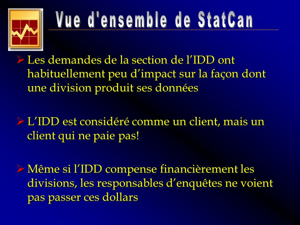 Les demandes de la section de lIDD ont habituellement peu dimpact sur la façon dont une division produit ses données LIDD est considéré comme un clien