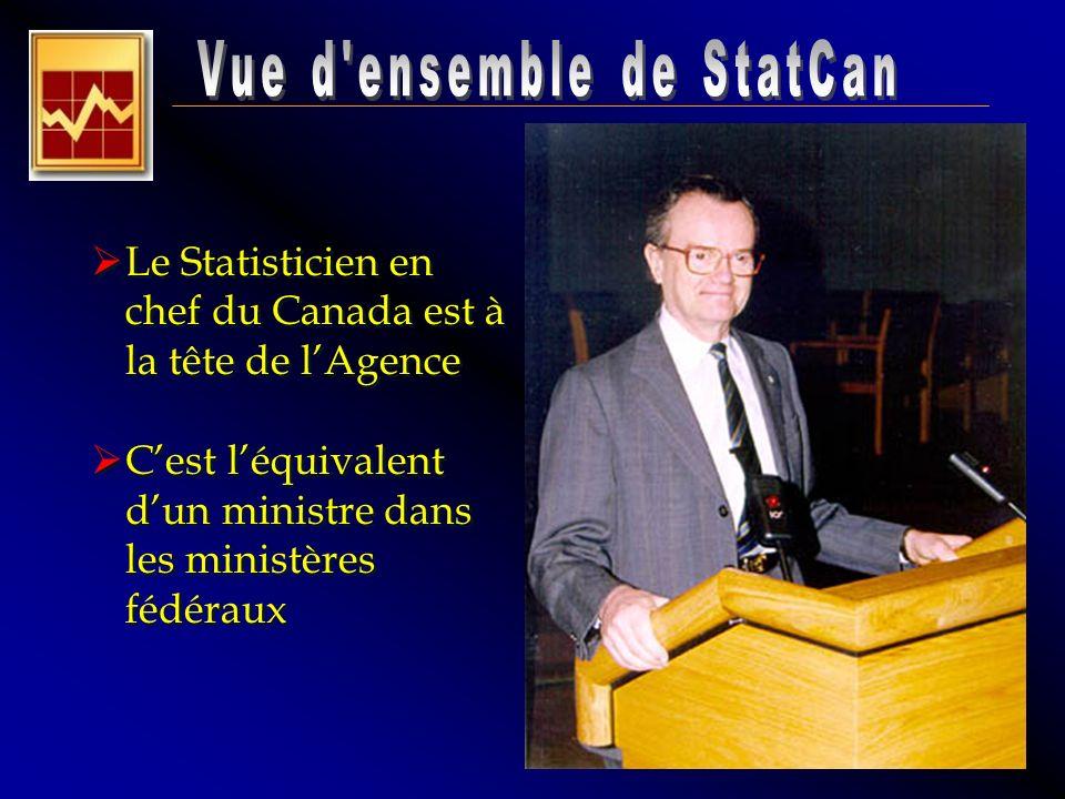 Le Statisticien en chef du Canada est à la tête de lAgence Cest léquivalent dun ministre dans les ministères fédéraux Le Statisticien en chef du Canad