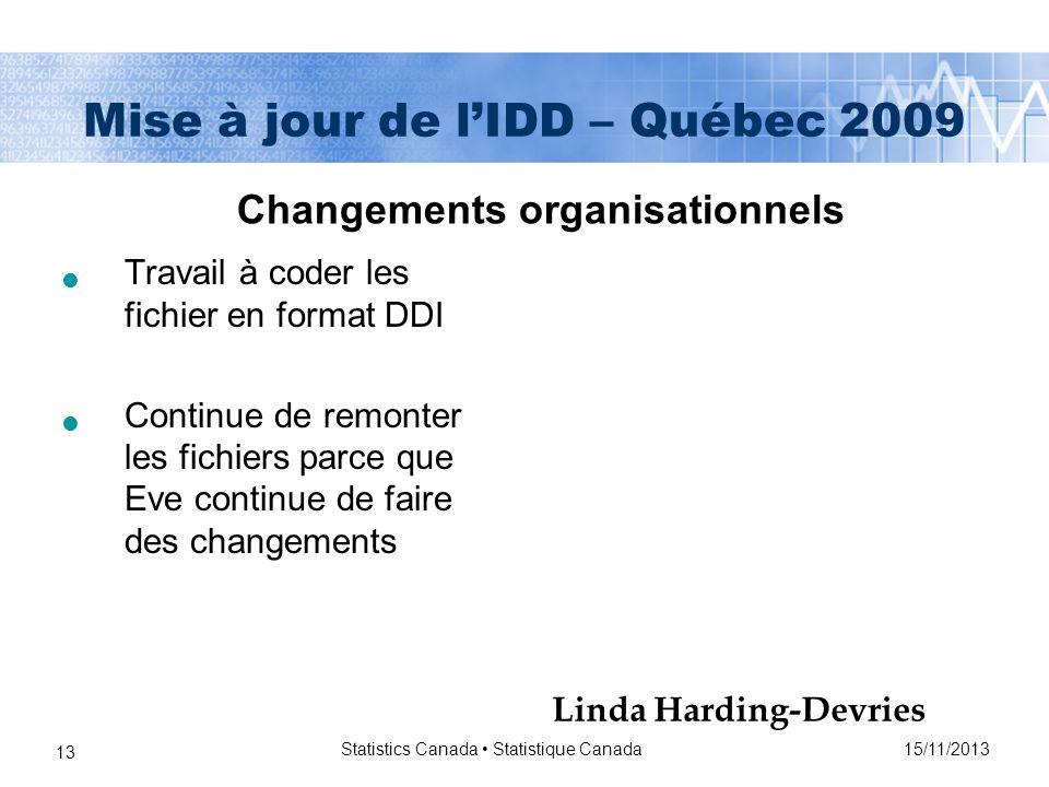 15/11/2013 Statistics Canada Statistique Canada 13 Mise à jour de lIDD – Québec 2009 Travail à coder les fichier en format DDI Continue de remonter les fichiers parce que Eve continue de faire des changements Changements organisationnels Linda Harding-Devries