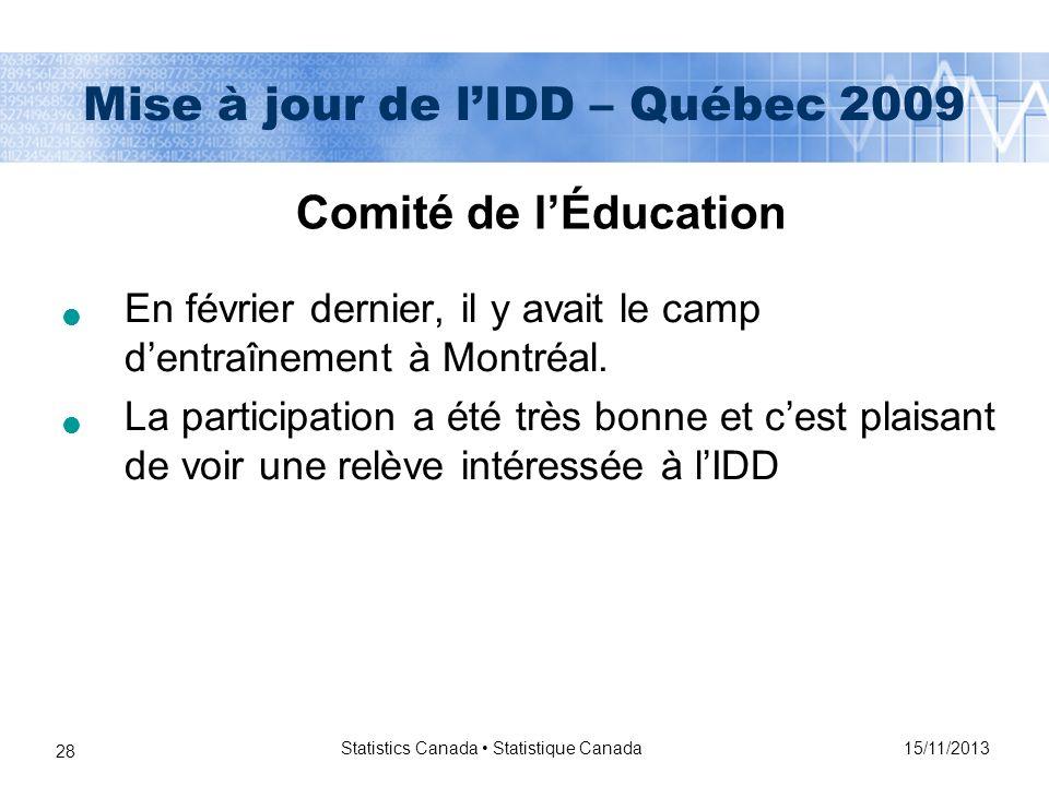 15/11/2013 Statistics Canada Statistique Canada 28 Mise à jour de lIDD – Québec 2009 En février dernier, il y avait le camp dentraînement à Montréal.