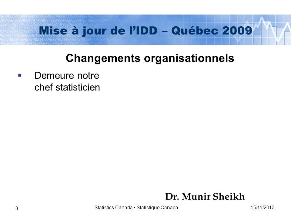 15/11/2013 Statistics Canada Statistique Canada 24 Mise à jour de lIDD – Québec 2009 Le CCE va suivre de près les changements sur les prochaines années étant donné quil y aura beaucoup de personnes qui changeront dans les prochains cinq années Initiative de démocratisation des données (IDD) : Rapports et matériels de référence de l IDD : Procès-verbaux des réunions du Comité consultatif externe de l IDD Initiative de démocratisation des données (IDD) : Rapports et matériels de référence de l IDD : Procès-verbaux des réunions du Comité consultatif externe de l IDD À mesure que les membres changent, le CCE essai davoir différentes personnes au CCE et au Comité de léducation Membres du CCE