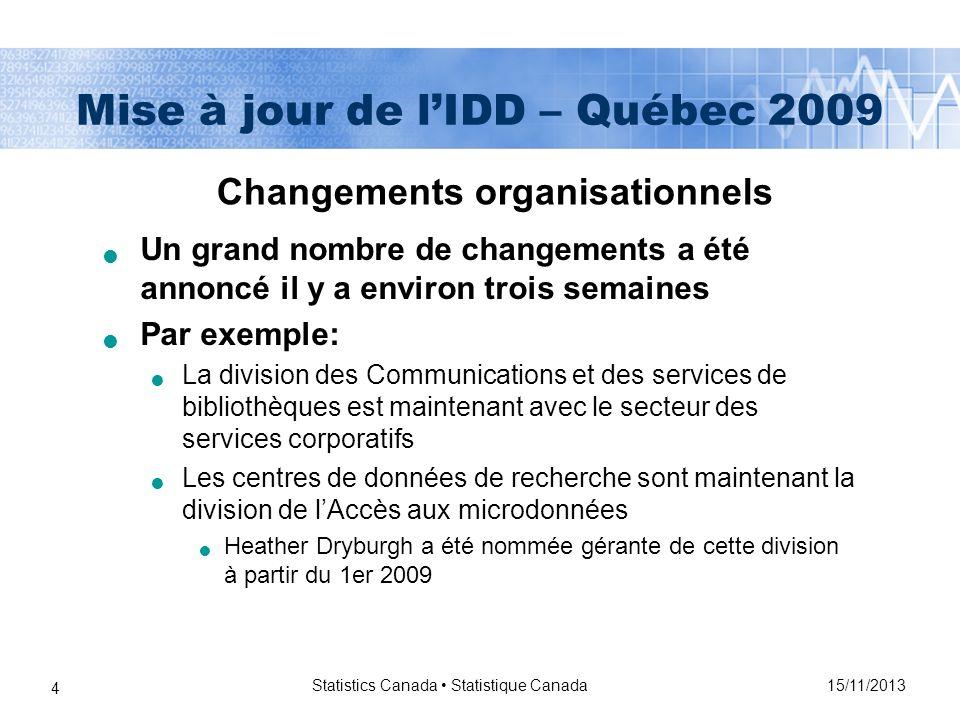 15/11/2013 Statistics Canada Statistique Canada 4 Mise à jour de lIDD – Québec 2009 Changements organisationnels Un grand nombre de changements a été annoncé il y a environ trois semaines Par exemple: La division des Communications et des services de bibliothèques est maintenant avec le secteur des services corporatifs Les centres de données de recherche sont maintenant la division de lAccès aux microdonnées Heather Dryburgh a été nommée gérante de cette division à partir du 1er 2009