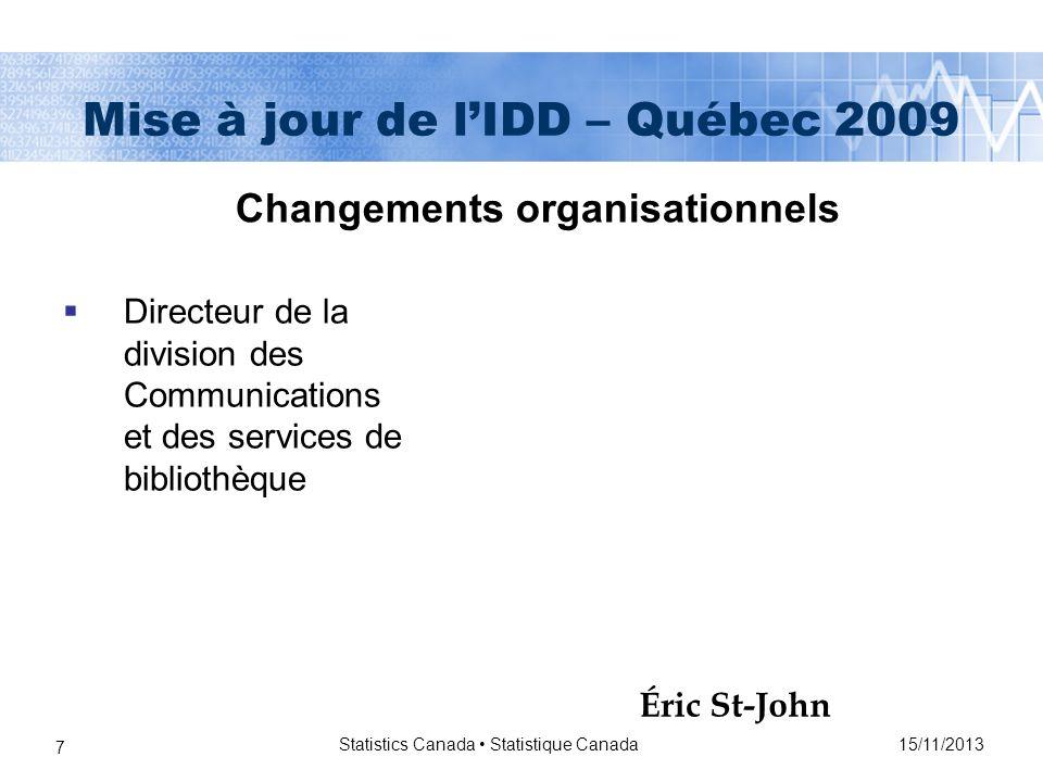 15/11/2013 Statistics Canada Statistique Canada 18 Mise à jour de lIDD – Québec 2009 Pas de nouvelles institutions depuis la dernière mise à jour Il y a toujours 74 membres On a visité les nouveaux membres à lexception de Humber College quon visitera la semaine prochaine Membres de lIDD