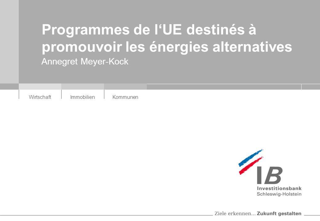 WirtschaftImmobilienKommunen Programmes de lUE destinés à promouvoir les énergies alternatives Annegret Meyer-Kock