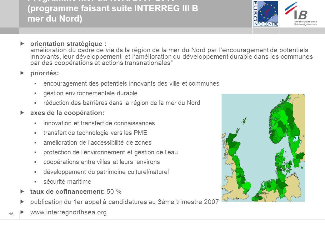 16 Programme mer du Nord 2007-2013 (programme faisant suite INTERREG III B mer du Nord) orientation stratégique : amélioration du cadre de vie ds la région de la mer du Nord par lencouragement de potentiels innovants, leur développement et lamélioration du développement durable dans les communes par des coopérations et actions transnationales priorités: encouragement des potentiels innovants des ville et communes gestion environnementale durable réduction des barrières dans la région de la mer du Nord axes de la coopération: innovation et transfert de connaissances transfert de technologie vers les PME amélioration de laccessibilité de zones protection de lenvironnement et gestion de leau coopérations entre villes et leurs environs développement du patrimoine culturel/naturel sécurité maritime taux de cofinancement: 50 % publication du 1er appel à candidatures au 3ème trimestre 2007 www.interregnorthsea.org