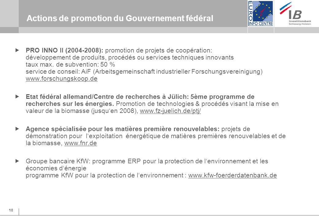 18 Actions de promotion du Gouvernement fédéral PRO INNO II (2004-2008): promotion de projets de coopération: développement de produits, procédés ou services techniques innovants taux max.