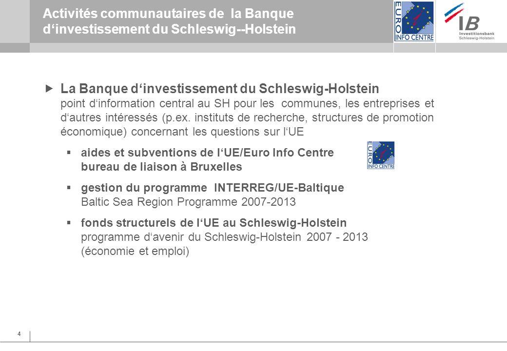 4 Activités communautaires de la Banque dinvestissement du Schleswig--Holstein La Banque dinvestissement du Schleswig-Holstein point dinformation central au SH pour les communes, les entreprises et dautres intéressés (p.ex.
