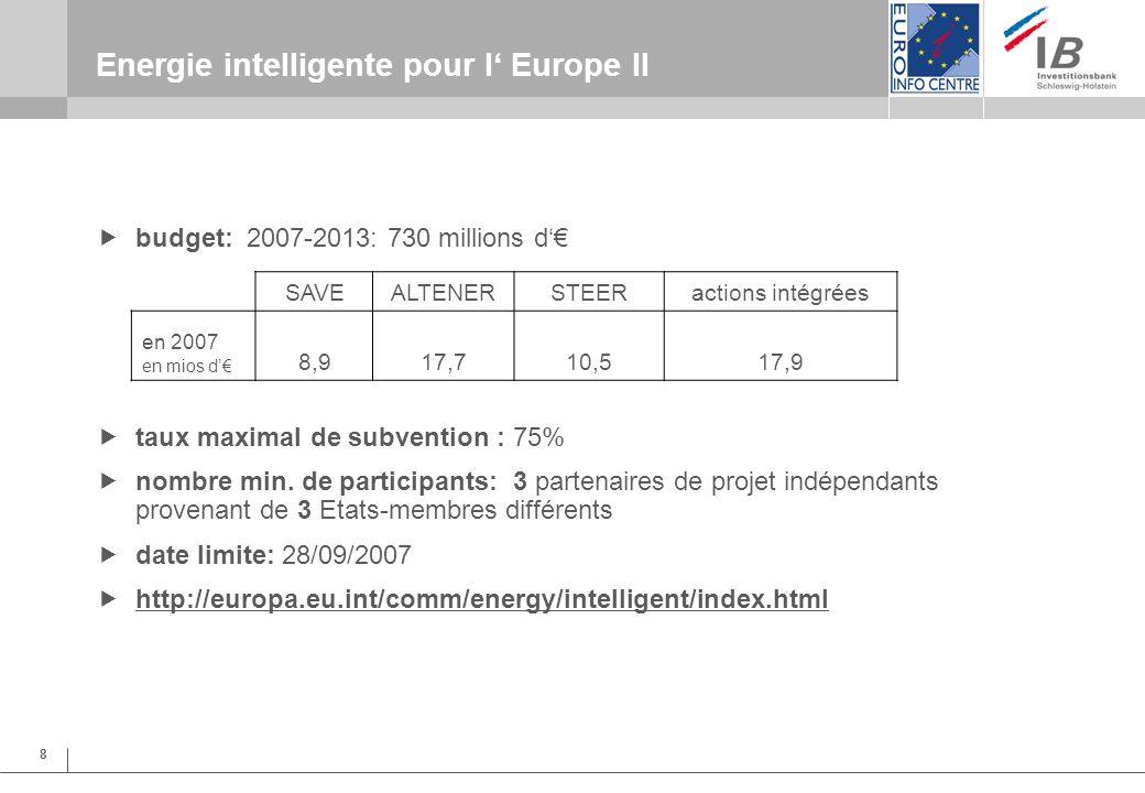 8 Energie intelligente pour l Europe II budget: 2007-2013: 730 millions d taux maximal de subvention : 75% nombre min.