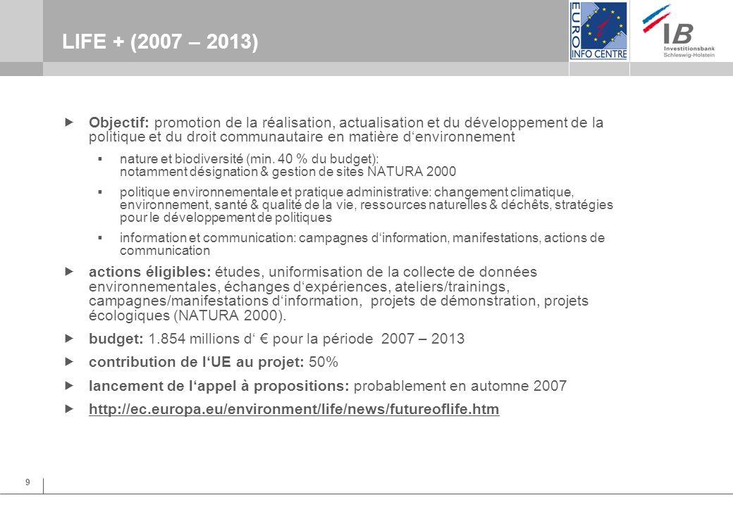 9 LIFE + (2007 – 2013) Objectif: promotion de la réalisation, actualisation et du développement de la politique et du droit communautaire en matière denvironnement nature et biodiversité (min.
