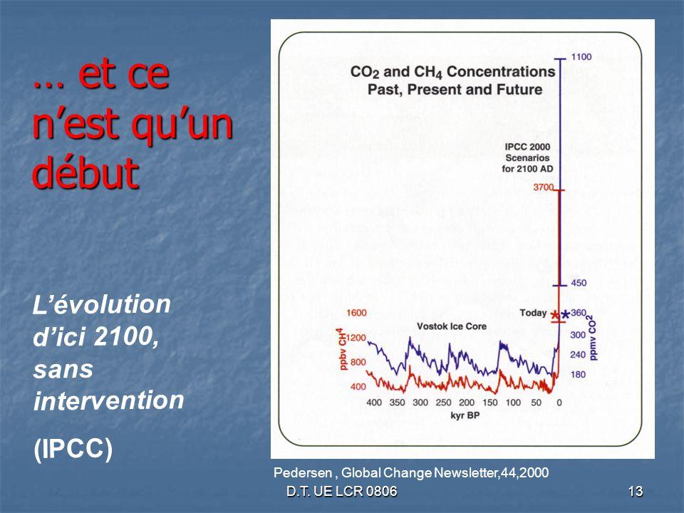 D.T. UE LCR 080613 Pedersen, Global Change Newsletter,44,2000 Lévolution dici 2100, sans intervention (IPCC) … et ce nest quun début