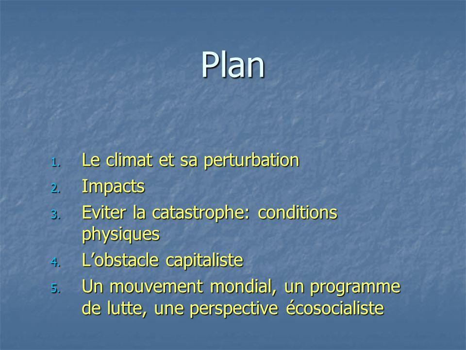 Plan 1. Le climat et sa perturbation 2. Impacts 3. Eviter la catastrophe: conditions physiques 4. Lobstacle capitaliste 5. Un mouvement mondial, un pr