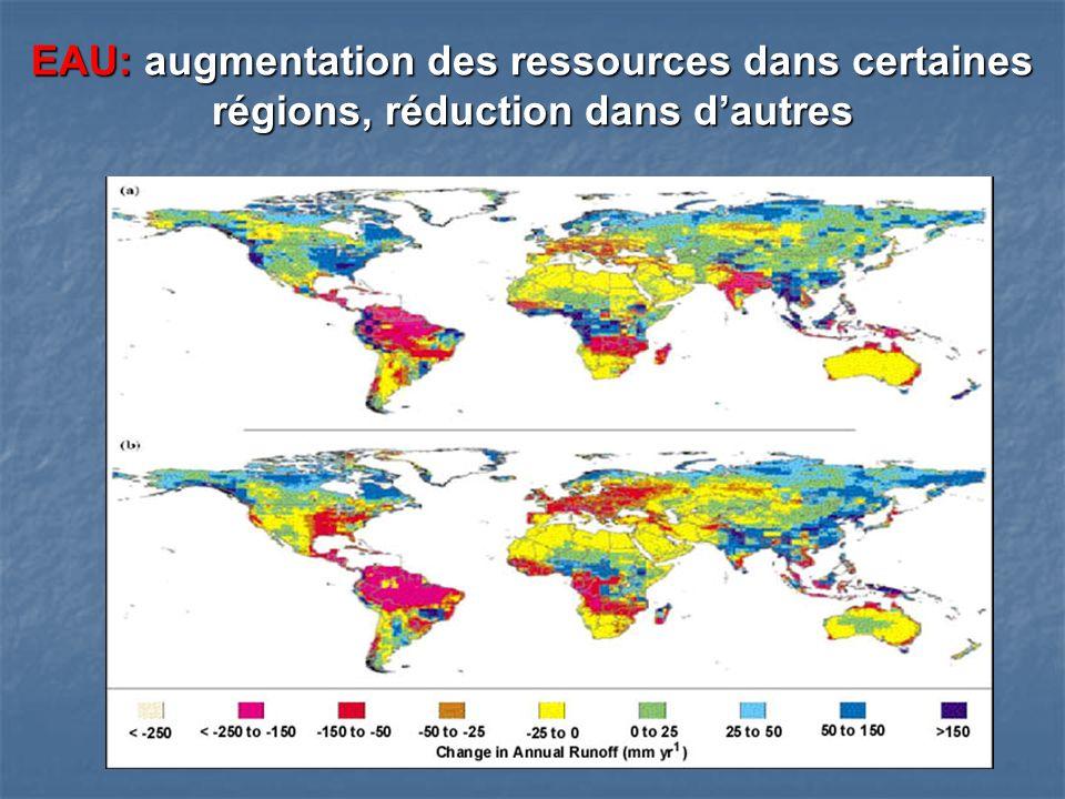 EAU: augmentation des ressources dans certaines régions, réduction dans dautres