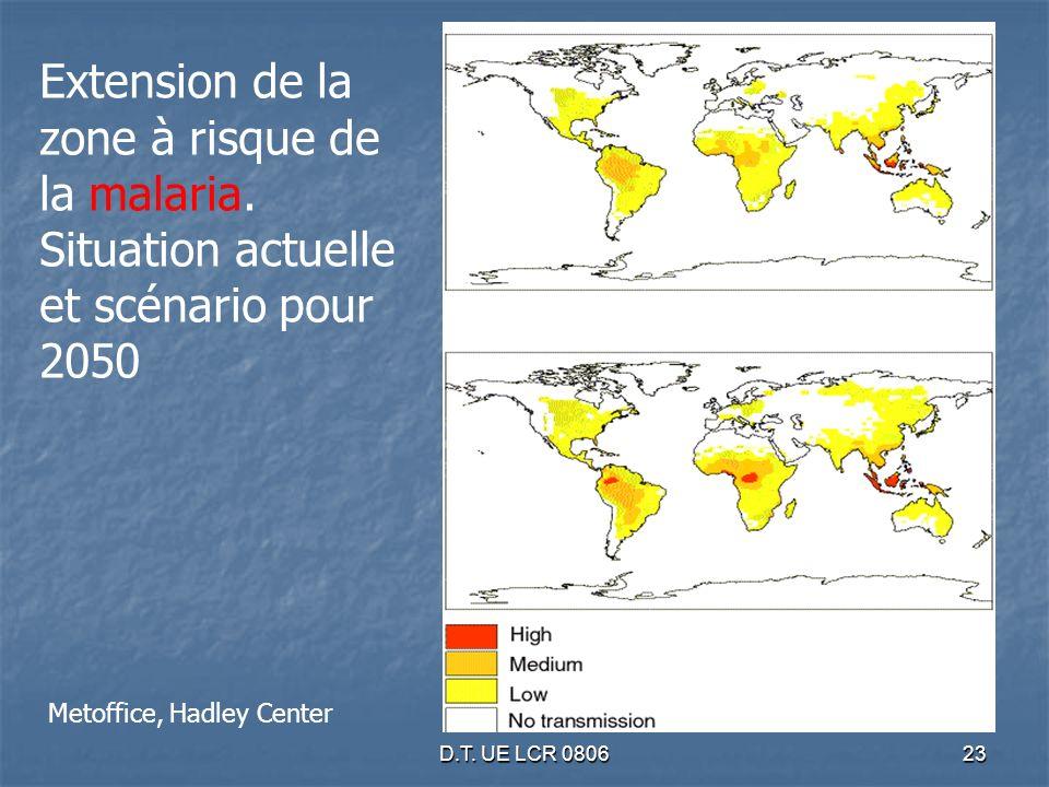 D.T. UE LCR 080623 Extension de la zone à risque de la malaria. Situation actuelle et scénario pour 2050 Metoffice, Hadley Center