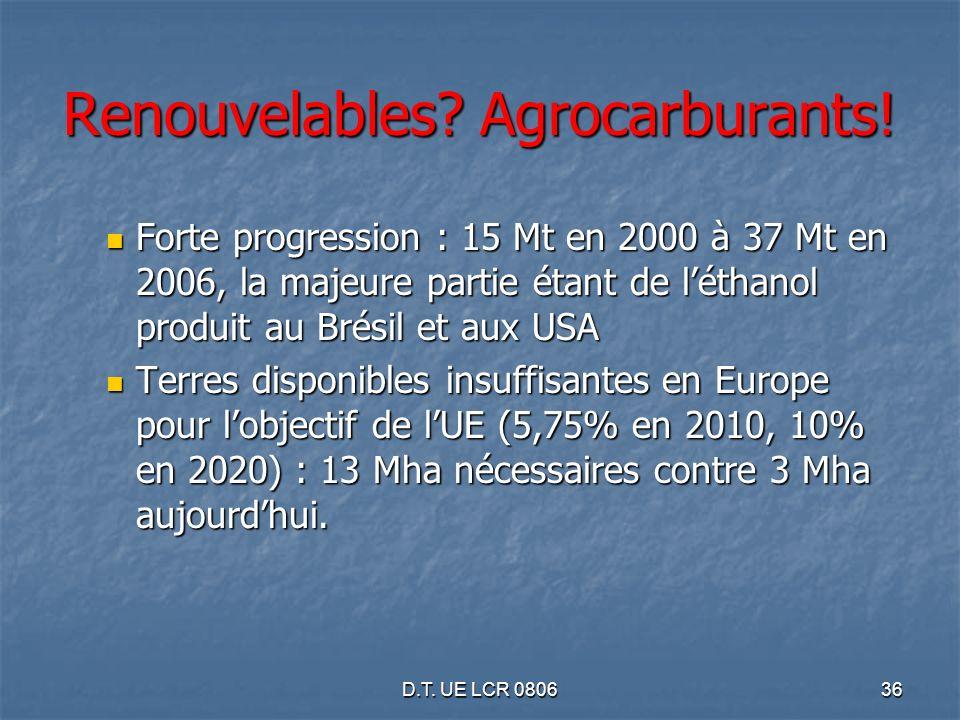D.T. UE LCR 080636 Renouvelables? Agrocarburants! Forte progression : 15 Mt en 2000 à 37 Mt en 2006, la majeure partie étant de léthanol produit au Br
