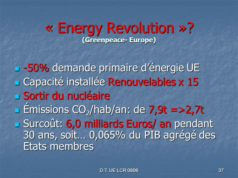 D.T. UE LCR 080637 « Energy Revolution ».