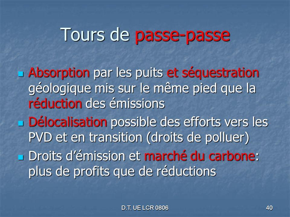 D.T. UE LCR 080640 Tours de passe-passe Absorption par les puits et séquestration géologique mis sur le même pied que la réduction des émissions Absor